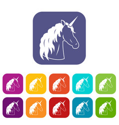 Unicorn icons set vector