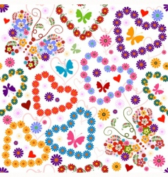 White seamless floral valentine pattern vector