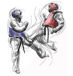 TaeKwon-Do Hand drawn calligraphic and grunge vector image
