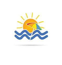sun icon with umbrella and sea vector image