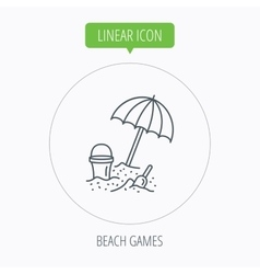 Beach umbrella in sand icon bucket with shovel vector