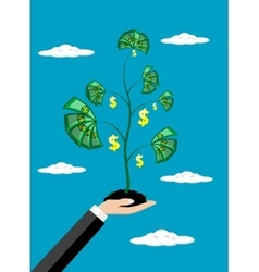 Business man hand money growth investment concept vector