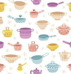 Kitchenware doodle decorated colorful seamless vector
