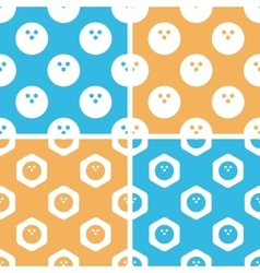 Bowling pattern set colored vector