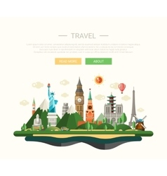 Flat design composition with world vector
