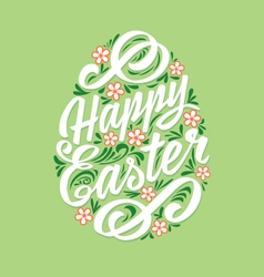 Happy easter greeting card hand-drawing lettering vector