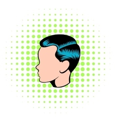 Mens hairstyle icon comics style vector
