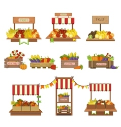 Vegetables market stands set vector