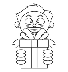 Boy holding gift icon vector