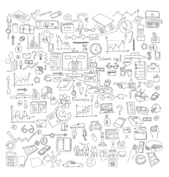 Hand draw doodle elements business finance chart vector