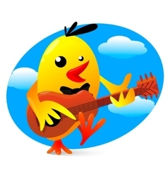 a yellow bird playing vector image
