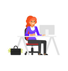 businesswoman at her workplace vector image vector image