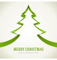 Christmas green tree from ribbon vector image vector image