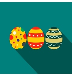 Colorful easter eggs flat icon vector image vector image