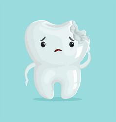 Cute sad cavity cartoon tooth character childrens vector