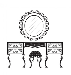 Dressing table silhouette vector image