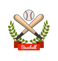 Emblem baseball play icon vector