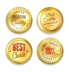 Four golden round labels set vector