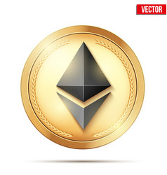 gold coin with ethereum sign vector image