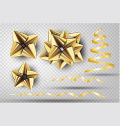 gold ribbon bow set vector image