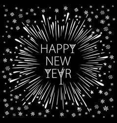 Happy new year card with starburst snowflake vector