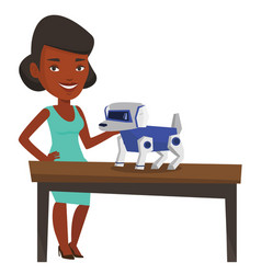 happy young woman playing with robotic dog vector image
