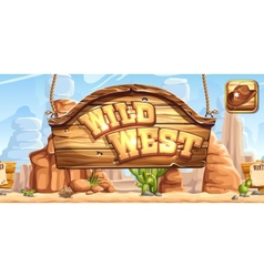 Horizontal banner and icon for the game Wild West vector image