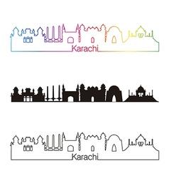 Karachi skyline linear style with rainbow vector