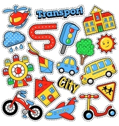 Kids fashion badges patches stickers transport vector