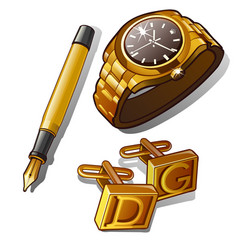 mens accessories - gold watch pen and cufflinks vector image vector image