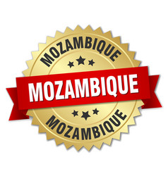 Mozambique round golden badge with red ribbon vector