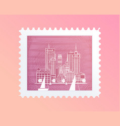 Postage stamp with a picture of the city tourist vector