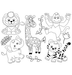 set of jungle animals vector image vector image