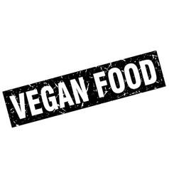 square grunge black vegan food stamp vector image
