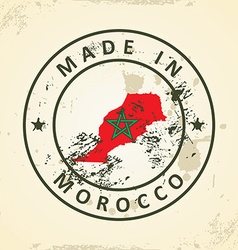 Stamp with map flag of morocco vector