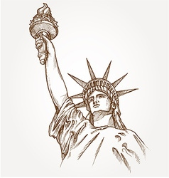 Statue of liberty hand dawn vector