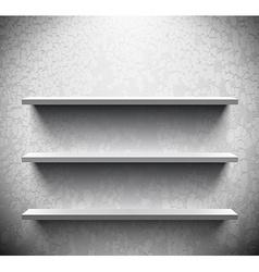 Three lightened shelves on cracked wall vector