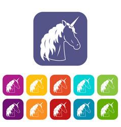 Unicorn icons set vector