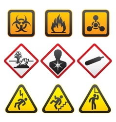 warning symbols hazard signssecond set vector image