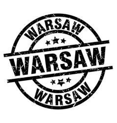 Warsaw black round grunge stamp vector