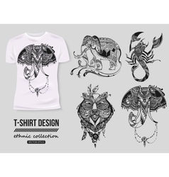 -shirt design with hand-drawn ethnic animals vector image vector image