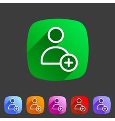 Add user avatar icon flat web sign symbol logo vector