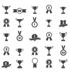 Trophy and award simple black icons vector