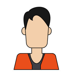 Colorful caricature image faceless half body man vector