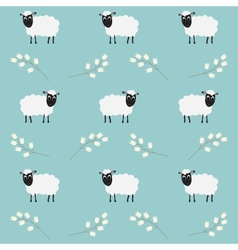 Seamless pattern with flowers and sheep vector