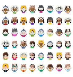 Animal hat avatars vector image