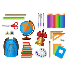 Set of school items isolated vector