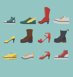 set of flat-style shoes colored on blue background vector image
