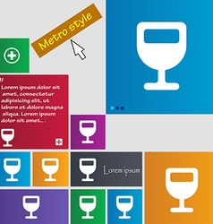 Wine glass alcohol drink icon sign metro style vector