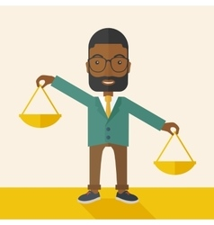 Black man holding a weighing scale vector